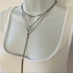 Express Triple Layer Lariat Silvertone Necklace